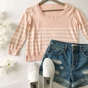 Pink + White Stripe Cropped Sweater